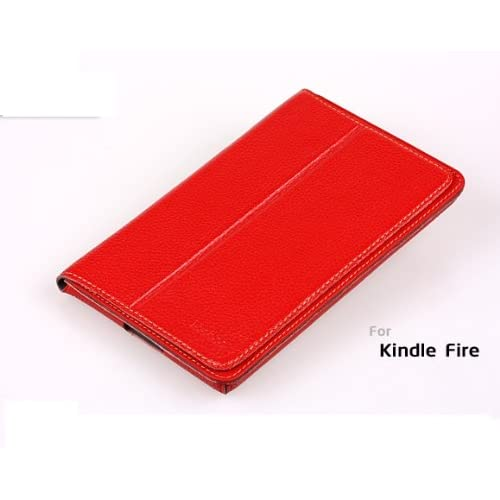 Kindle Fire Leather Case Cover by Agear, Red