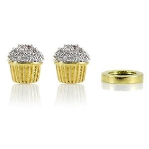 Baker's Cupcake Non Pierced Magnetic Earrings - Two Tone