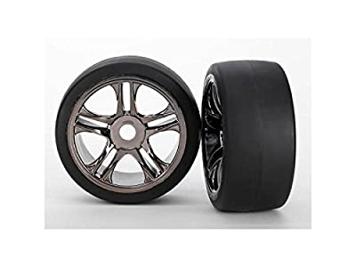 Traxxas 6477 Tires and Wheels, Assembled Black Chrome, Rear, XO-1, 2-Piece