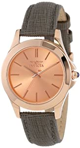 """Invicta Womens 15152 """"Angel"""" 18k Rose Gold Ion-Plated Stainless Steel and Gray Leather Watch"""