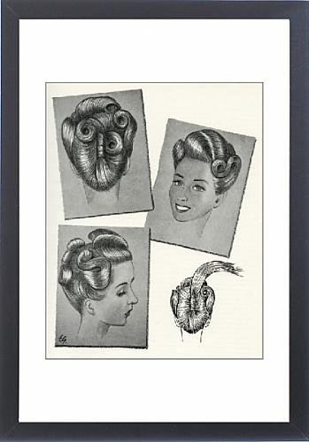 Framed Print Of 1940S Hairstyle Suitable For Very Long Hair