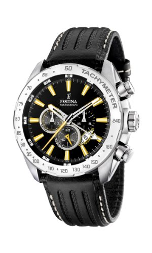 Festina Men's Chrono Watch F16489/2 With Black Leather Strap