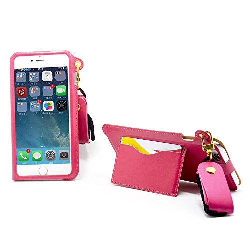 I Phone 6 plus Case, Rnker Lanyard design, stand Feature, credit card slots/earphone holder, 2 button locked-case for I phone 6+  5.5 inchs  (Pink) (Iphone 6 Plus Locked At&t compare prices)