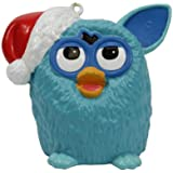 """3.5"""" Blue Furby Wearing a Red Glittered Santa Hat Christmas Ornament"""