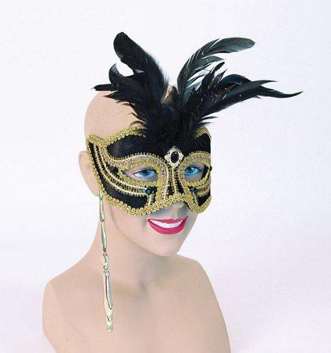 Fasching Anzug Augen Maske mit hohen Federn am Stab in dunkel blau