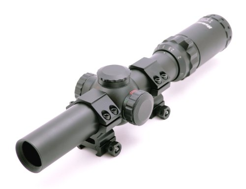 Hammers 1-4X24 Wide View Hog Rifle Scope With Illuminated Quick Circle Dot Pig Reticle And Weaver Rings