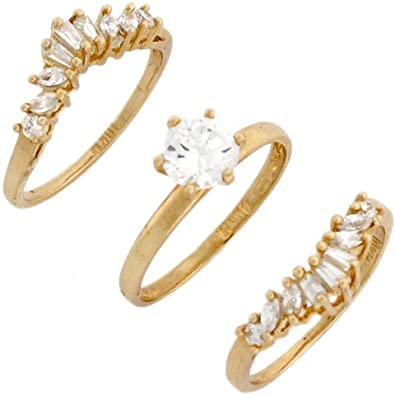 14ct Yellow Real Gold White CZ Anniversary Triplet Wedding Womens Ring