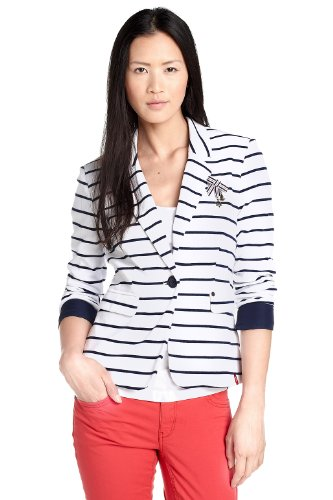 Esprit EDC Women's Blazer White With Navy Stripes XS