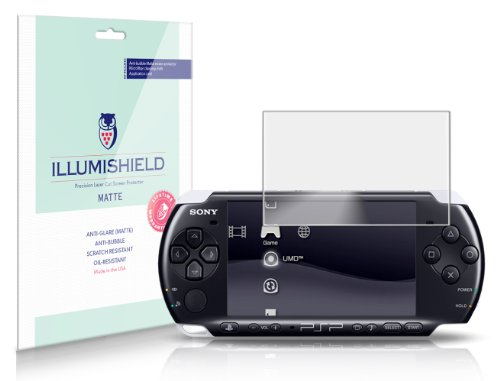 Illumishield - Sony Playstation Portable Psp-2000 Anti-Glare (Matte) Screen Protector Hd Clear Film / Anti-Bubble & Anti-Fingerprint / Premium Japanese High Definition Invisible Crystal Shield - Free Lifetime Warranty - [3-Pack] Retail Packaging