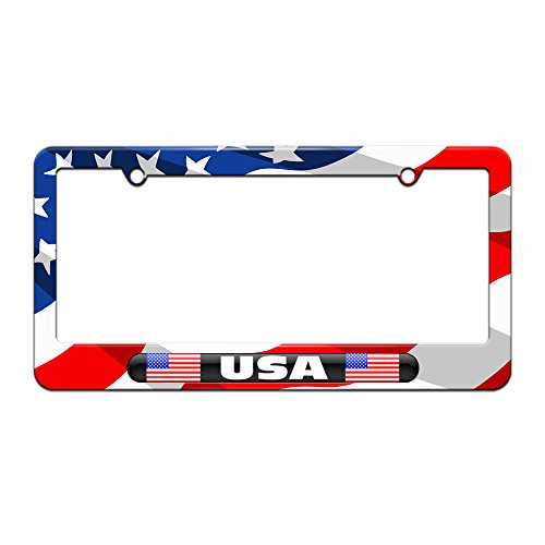 USA Country Flag - Black Double - License Plate Tag Frame - American Flag Design (American License Plate Frame compare prices)