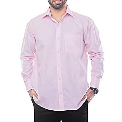 VinaraTrends Pink Color Poly Cotton Shirt For Men