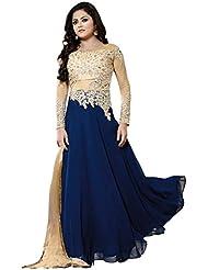 Maxthon FashionWomen's Blue Georgette Embroidery Anarkali Unstitched Free Size XXL Salwar Suit Dress Material... - B01HGZQ40Q