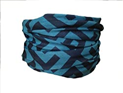Multifunction Neckwarmer, Snood, Hat, Scarf and Hood in Blue maze print by Monogram