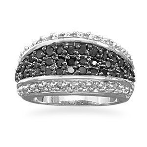 Sterling Silver Black and Clear CZ Ring / Size 7