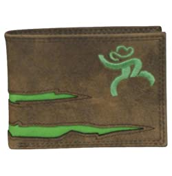 HOOey Western Wallet Mens Roughy Bifold Stitched Logo Brown