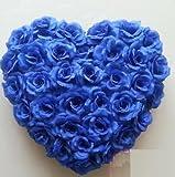 【Woliwowa】 結婚式 二次会 パーティー等に バラの 造花 ハート モチーフ (ブルー) [並行輸入品]