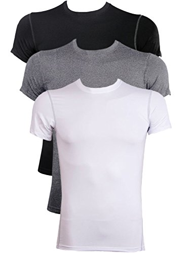Neleus Men's 3 Pack Athletic Compression Under Base Layer Sport Shirt,Black,Grey,White,US L / Tag XL