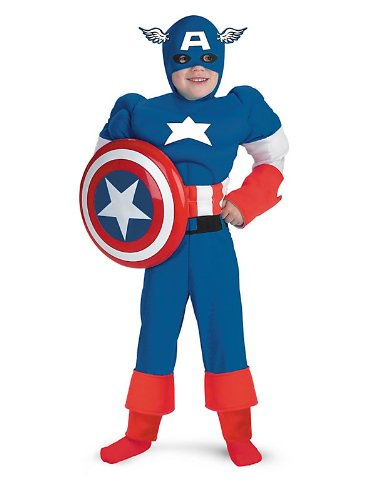 Disguise Inc - Captain America Deluxe Muscle Child Costume - Small (4-6) - Blue