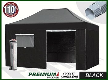 Eurmax Premium 10X15 Pop Up Canopy Comercial Grade Fair Tent Outdoor Portable Folded Gazebo W/ 4 Zipper End Sidewalls Walls + Roller Bag (Black) front-959170