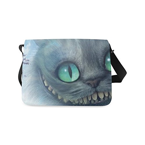 2buymore Custom School Bag Messenger Bag Alice in Wonderland Cheshire Cat 21.41 Oz Personalized Shoulder Bags Black (Messenger Bag Custom compare prices)
