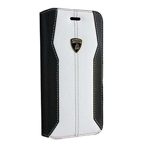 Lamborghini Huracan - Cover con aletta, sottile, in vera pelle, per Apple iPhone 6, bianco