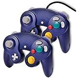 2x manettes bleus vibrante filaire traditionnel pour jeux console Nintendo Gamecube Wii