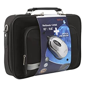 Tech Air 11.6 inch Netbook Bag (Black) and Optical Mouse (Silver) - Bundle