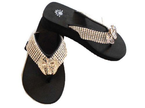 Silver Ribbon Flip Flops Cross And Wings Rhinestones Western Thin Sole Sandal Flip Flop (Size-Xl) front-44397