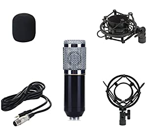 DragonPad USA Pro Condenser Sound Recording Microphone + Mic Shock Mount Bundle for radio broadcasting studio, voice-over sound studio, Recording, Bands and More (Blue) from Dragonpad USA