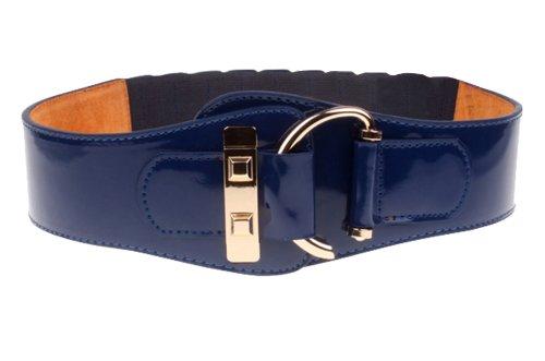 Herebuy - Fashion Women Leather High Waist Belt Wide Elastic Cinch (Saphhire)