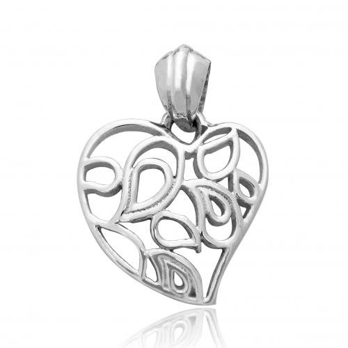 925 Sterling Silver Leaf Heart Charm Pendant