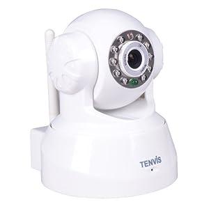 """Caméra IP Wifi de surveillance Tenvis JPT3815W - Caméra IP infrarouge motorisée de sécurité wifi sans fil d'intérieur à capteur CMOS 1/4"""" 300 000 Pixels - Caméra IP Pan & Tilt à vision nocture - Visualisation sur ordinateur smartphone et tablette n'importe où et n'importe quand -Détection de mouvement - Audio bidirectionnel - Babyphone - Babymonitor- DDNS gratuit"""
