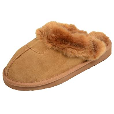 Ladies' EGO Snugg Suede Mule Slippers With Faux Fur Trim & Lining Chestnut UK 3