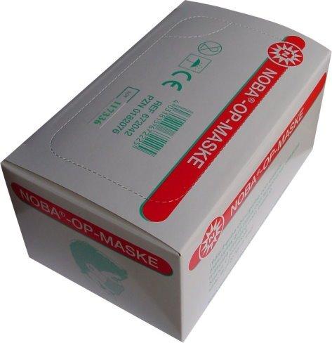 50 Stück Mundschutz OP Maske 3-lagig mit ela. Schlaufe Noba Verbandmittel Farbe: Grün
