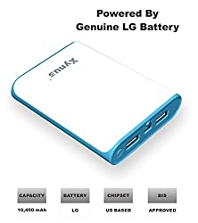 XYNUS RM-10400 mAh Power Bank With Genuine LG Battery (White-Blue)