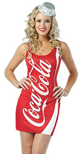 Jack & Coke Costume GIRLS Tank Dress, Coke, One Size (Adult 4-10)