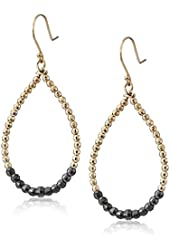 Mizuki 14k Hoop Earrings with Gold and Silver Beads