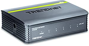 TRENDnet 5-Port Unmanaged 10/100 Mbps GREENnet Ethernet Desktop Plastic Housing Switch, TE100-S5 from TRENDnet
