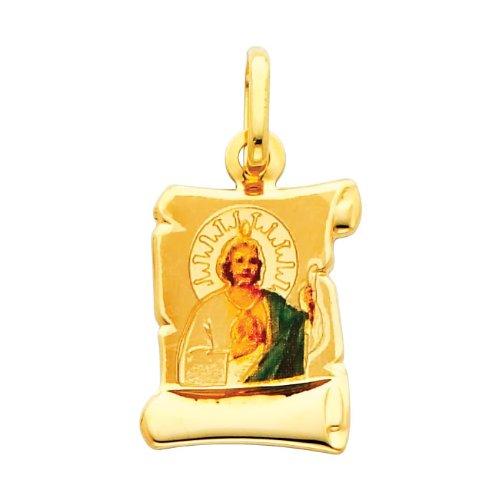 14K Yellow Gold Religious Saint Jude Enamel Picture Charm Pendant