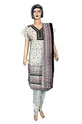 Women's Chanderi Cotton Unstitched Salwar Suit Dress Material (Dress_1050_FreeSize_Multicolor)