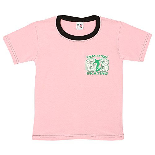 S.R.KIDS Cotton Boys Rib Neck Pink Tshirt  available at amazon for Rs.98