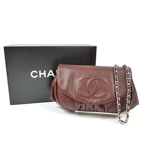 シャネル(CHANEL) キャビア チェーンショルダー チェーンウォレット クラッチ 3WAYバッグ 財布 A40033 ボルドー