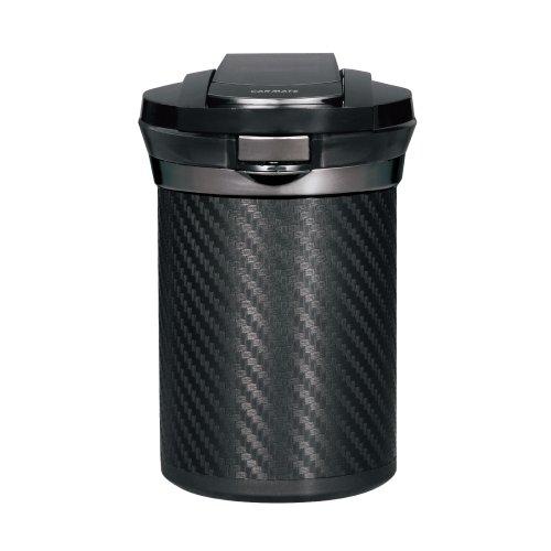 カーメイト 車用 灰皿 愛煙缶プレミアム ドリンクホルダー型 カーボン調ブラック LED付き DZ186