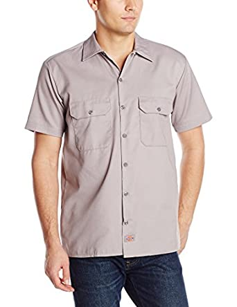 Dickies Men's Short Sleeve Work Shirt, Silver Gray, Small