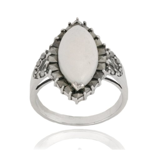 Sterling Silver Marcasite and White Agate Marquis Ring, Size 5