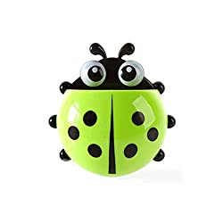 House of Quirk Cute Cartoon Ladybird Toothbrush Holder with Suction Cups(Green)