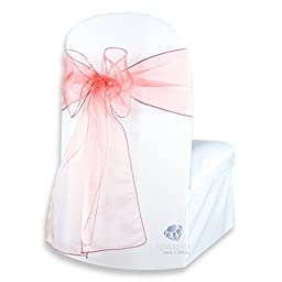 Sparkles Make It Special 10-pcs 108 x 8 Inch Organza Chair Cover Bow Wedding Sashes Coral