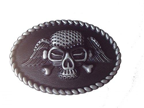 Biker Skull Mens Belt Buckle Skeleton Heavy Metal Punk Rock Western Cowboy Bolo Tie