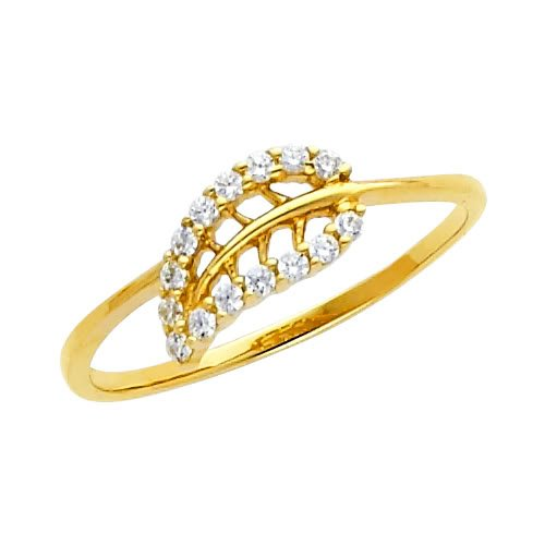 14K Yellow Gold Leaf CZ Cubic Zirconia Promise Ring Band - Size 4