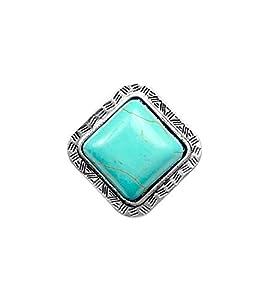 Miao Inspiried Silver Large Showcase Diamond Square Turquoise Stone Ring